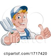 Poster, Art Print Of Gardener Garden Fork Tool Handyman Cartoon Man
