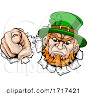 Poster, Art Print Of Leprechaun Mascot Cartoon Character Pointing