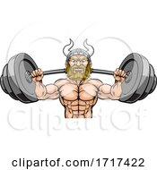06/27/2020 - Viking Weight Lifting Mascot Muscle Gym Cartoon