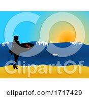 Female Surfer Silhouette On The Beach