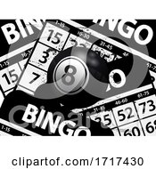06/27/2020 - Number 8 Black Bingo Ball Over Black Bungo Cards