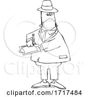 Cartoon Black And White Male Inspector Wearing A Mask
