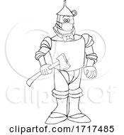 Cartoon Black And White Tin Man Wearing A Mask
