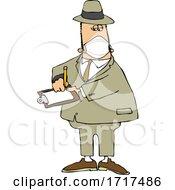 Cartoon Male Inspector Wearing A Mask