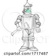 Cartoon Tin Man Wearing A Mask