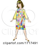 Fashionable Young Woman In A Quilted Dress