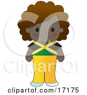 Cute Jamaican Girl Wearing A Flag Of Jamaica Shirt Clipart Illustration