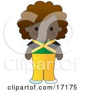 Cute Jamaican Girl Wearing A Flag Of Jamaica Shirt