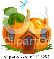 Dragonfly Over A Pumpkin Fairy House by Vector Tradition SM