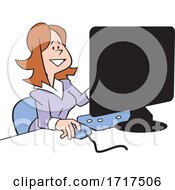 Cartoon Happy Business Woman Working At A Computer Desk