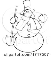 Cartoon Snowman Wearing A Mask And Holding A Shovel