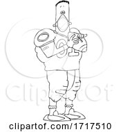 Cartoon Black And White Nun Football Player Wearing A Mask