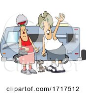 Poster, Art Print Of Cartoon Happy Couple And Dog By Their Camper Trailer