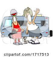 Cartoon Happy Couple Wearing Masks And Standing With Their Dog By Their Camper Trailer