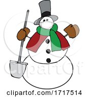 Cartoon Snowman Wearing A Covid Mask And Holding A Shovel