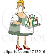 Cartoon Oktoberfest Beer Maiden Wearing A Mask And Serving Beer In Mugs And Bottles
