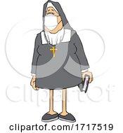 Cartoon Nun Wearing A Face Mask