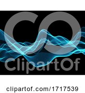 3D Blue Flowing Abstract Lines Background