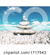3D Landscape With Balancing Zen Pebbles With Sunny Blue Sky