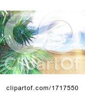 3D Sunny Beach Landscape With Palm Tree Against Sunny Sky