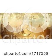 Gold Bokeh Lights Banner For Eid Al Adha