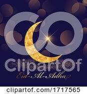 Poster, Art Print Of Decorative Eid Al Adha Background With Low Poly Crescent Design