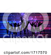 Poster, Art Print Of Abstract Banner With Silhouettes Of Party People