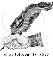 06/30/2020 - Quill Feather Ink Pen Hand Vintage Woodcut Print