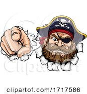 Pirate Captain Cartoon Pointing Tearing Background