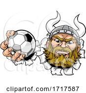 Viking Soccer Football Ball Sports Mascot Cartoon