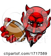 Devil American Football Sports Mascot Cartoon by AtStockIllustration