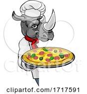 Poster, Art Print Of Rhino Pizza Chef Cartoon Restaurant Mascot Sign