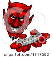 Devil Gamer Video Game Controller Mascot Cartoon