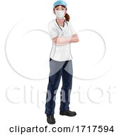Doctor Or Nurse Woman In Medical Scrubs And PPE
