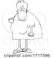 Cartoon Black And White Angry Granny Wearing A Mask And Flipping The Bird