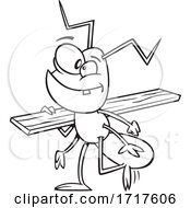Cartoon Outline Worker Ant Carrying Lumber