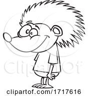 Cartoon Outline Happy Hedgehog In A Tee Shirt