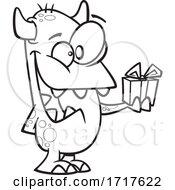 Cartoon Outline Monster Giving A Gift