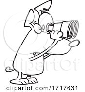 Cartoon Outline Watch Dog Looking Through Binoculars