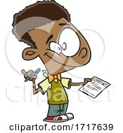 Poster, Art Print Of Cartoon Boy Holding Out A Contract