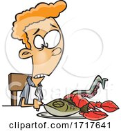 Cartoon Teen Boy With Sea Food