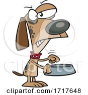 Cartoon Angry Dog Holding An Empty Bowl by toonaday