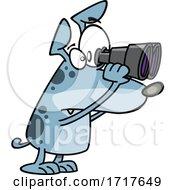 Cartoon Watch Dog Looking Through Binoculars