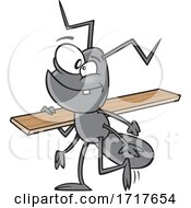 Cartoon Worker Ant Carrying Lumber