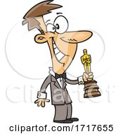 Cartoon Man Giving Or Receiving An Award