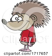 Cartoon Happy Hedgehog In A Tee Shirt