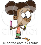 Cartoon Girl Dropping A Popsicle by toonaday
