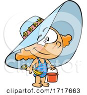 Cartoon Girl Wearing A Beach Hat And Swimsuit And Carrying A Beach Bucket