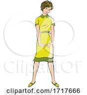 Fashionable Woman In A Retro Green Dress