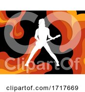Poster, Art Print Of Rockstar White Silhouette Over Psychedelic Background